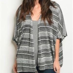 Sweaters - NWT Gray Ivory Stripe Slub Knit Cardigan S-L